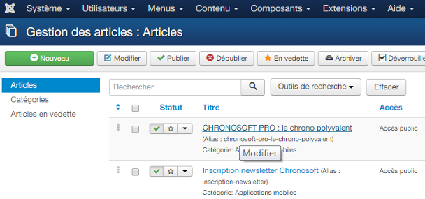 Liste articles - Joomla 1.6